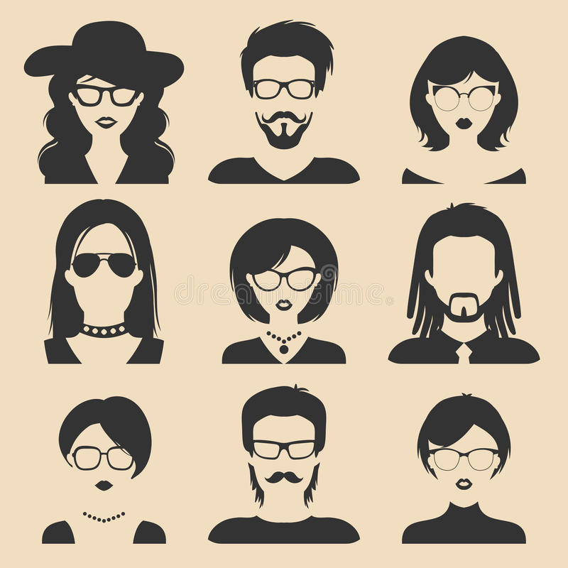 Grupo do vetor de ícones masculinos e fêmeas diferentes no estilo liso na moda Coleção das imagens das caras e das cabeças dos po ilustração stock