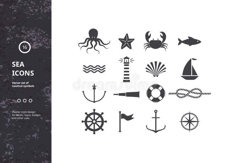 Grupo do vetor de ícones náuticos ilustração royalty free