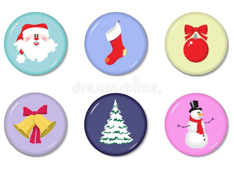 Grupo do vetor de ícones redondos do Natal ilustração do vetor