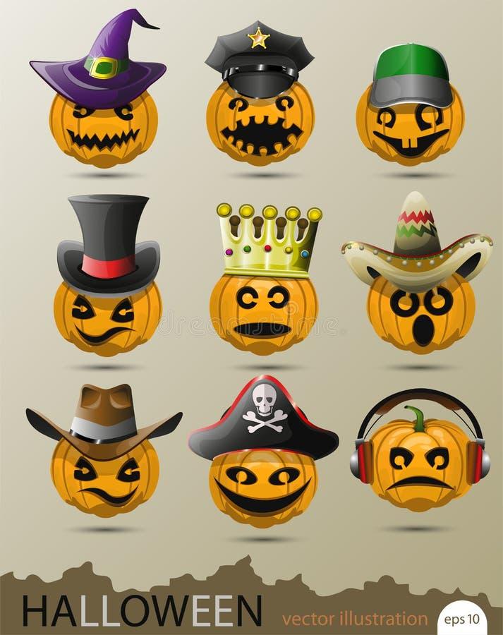 Grupo do vetor de abóboras com chapéus e os tampões diferentes em honra de Dia das Bruxas ilustração stock