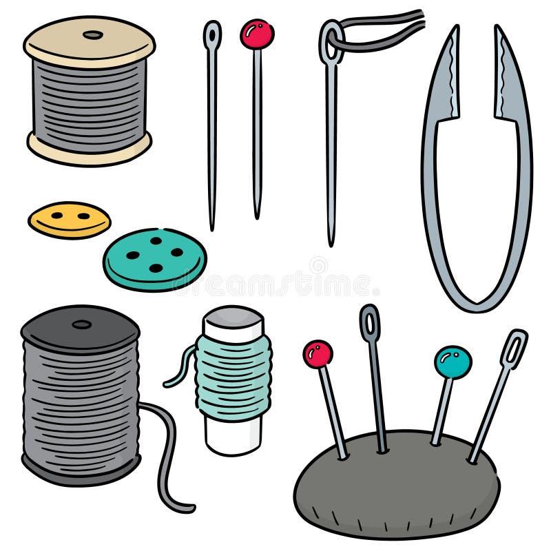 Grupo do vetor de acessórios da costura ilustração stock