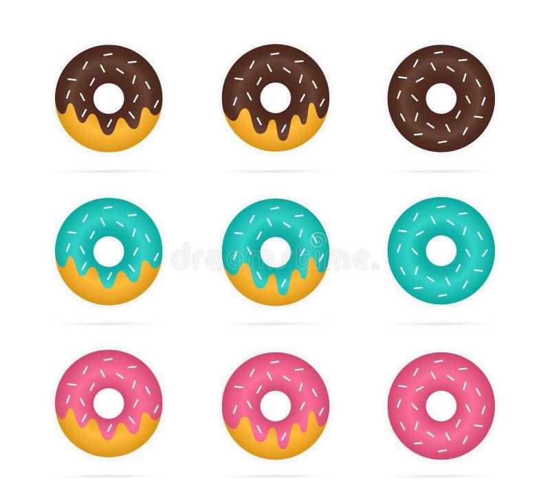 Grupo do vetor de anéis de espuma coloridos no estilo realístico Rosa, turquesa, filhós marrom, sobremesa e doces ilustração royalty free