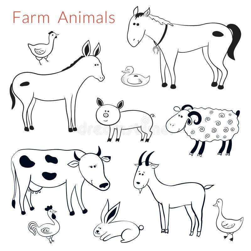 Grupo do vetor de animais de exploração agrícola diferentes ilustração stock