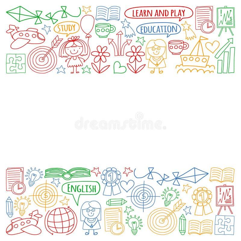 Grupo do vetor de aprender a língua inglesa, os ícones de tiragem das crianças no estilo da garatuja Pintado, colorido, imagens n ilustração stock