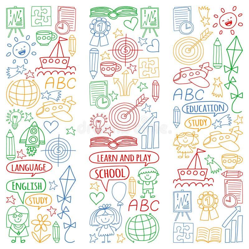 Grupo do vetor de aprender a língua inglesa, os ícones de tiragem das crianças no estilo da garatuja Pintado, colorido, imagens n ilustração royalty free