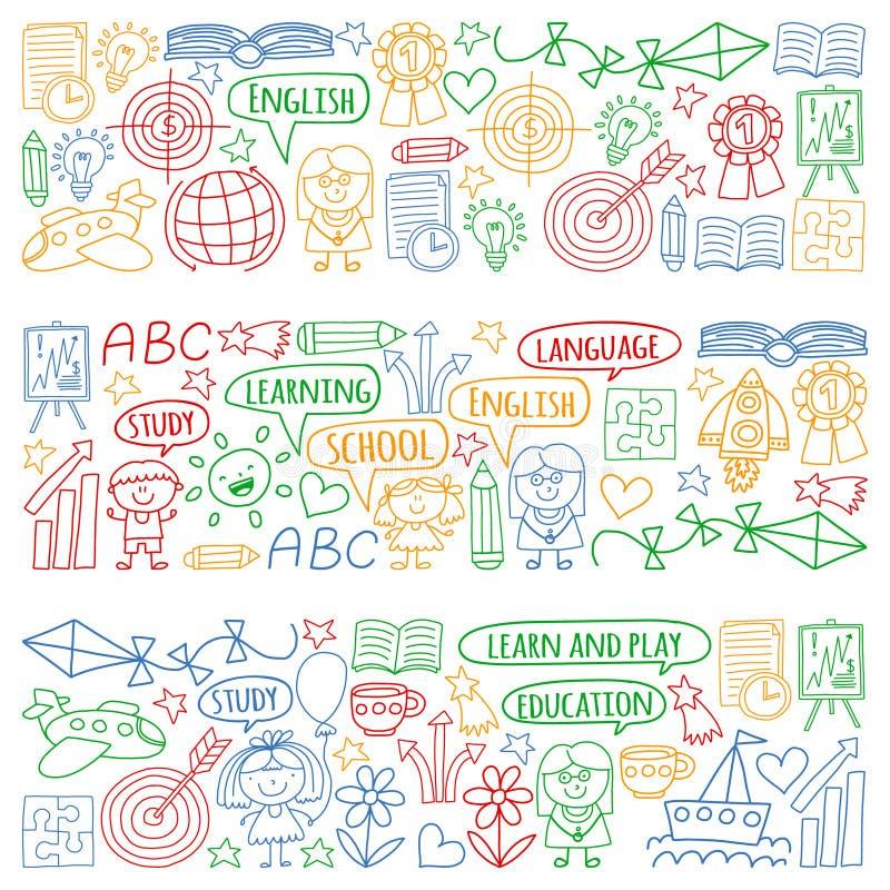 Grupo do vetor de aprender a língua inglesa, os ícones de tiragem das crianças no estilo da garatuja Pintado, colorido, imagens n ilustração do vetor