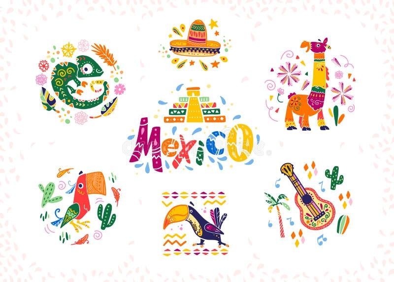 Grupo do vetor de arranjos decorativos tirados mão com símbolos e elementos mexicanos tradicionais ilustração royalty free