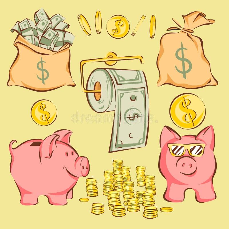 Grupo do vetor de artigos e de metáfora da finança no estilo cômico dos desenhos animados: o dinheiro ensaca, mealheiro, moedas,  ilustração royalty free