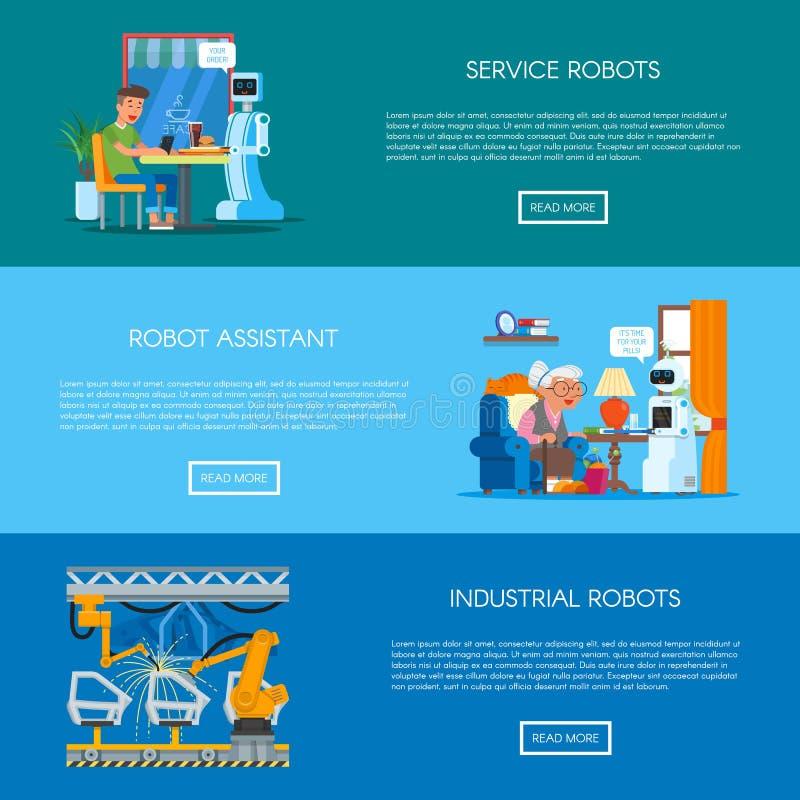 Grupo do vetor de bandeiras com casa, serviço, conceito da automatização industrial ilustração stock