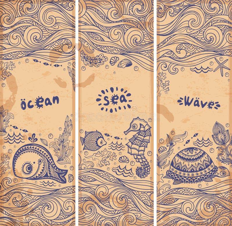 Grupo do vetor de bandeiras com peixes e shell ilustração stock