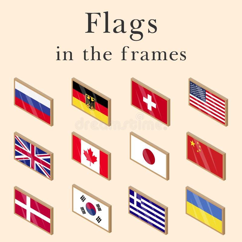 Grupo do vetor de bandeiras de país ilustração royalty free