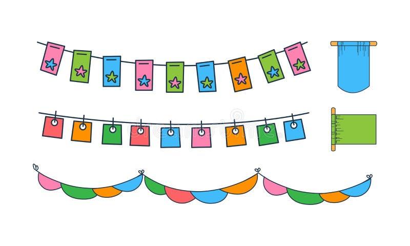 Grupo do vetor de bandeiras diferentes da estamenha Decoração colorida do feriado Elementos decorativos para o cartão ou o cartaz ilustração do vetor