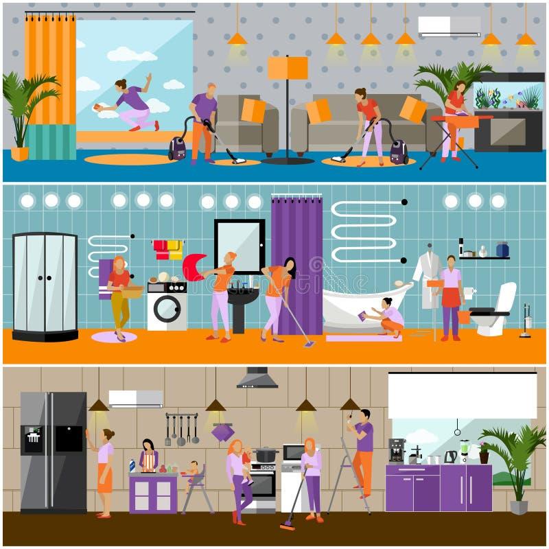 Grupo do vetor de bandeiras do conceito do serviço da limpeza Interior do apartamento Equipe da empresa das tarefas domésticas no ilustração stock