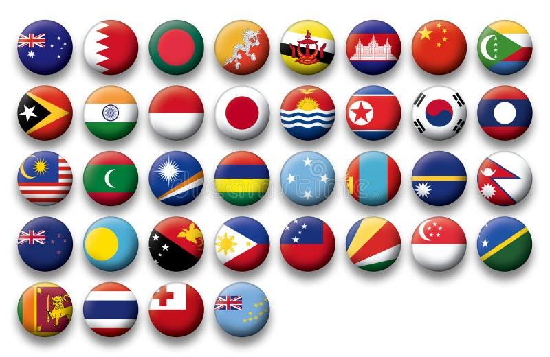 Grupo do vetor de bandeiras dos botões de Oceania e de Pacífico ilustração stock