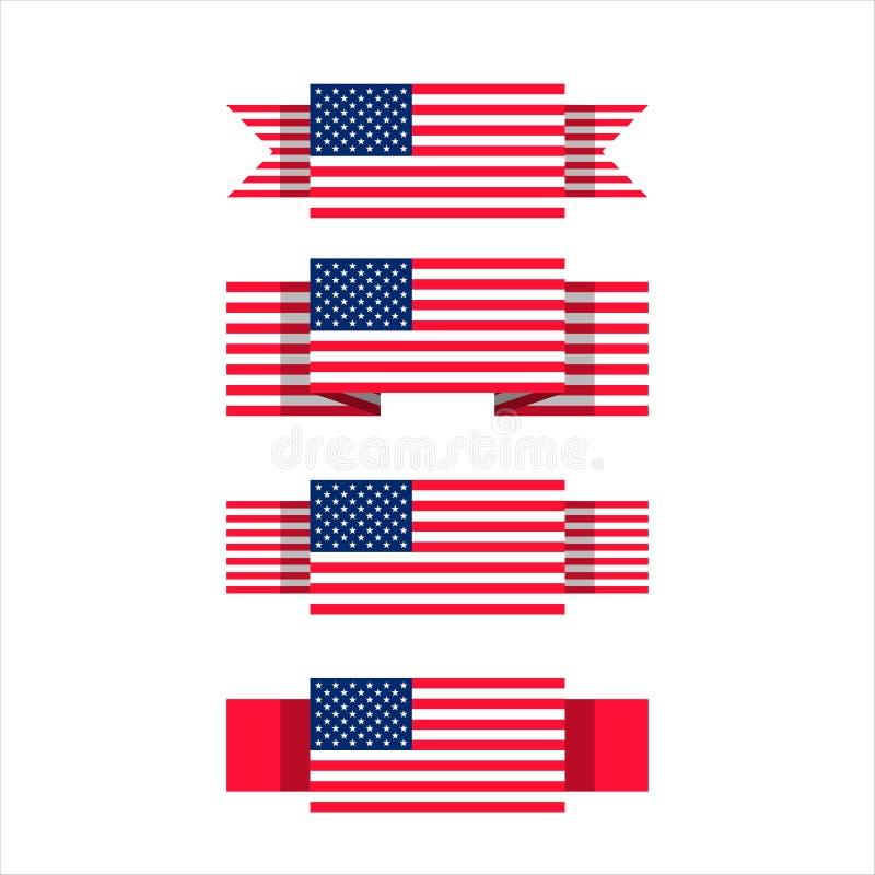 Grupo do vetor de bandeiras do Estados Unidos com fitas diferentes ilustração royalty free