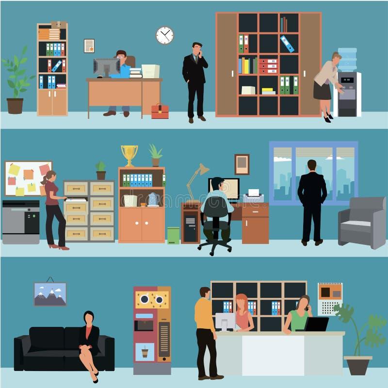 Grupo do vetor de bandeiras interiores do escritório no projeto liso do estilo Executivos e trabalhadores da finança Sala de rece ilustração do vetor