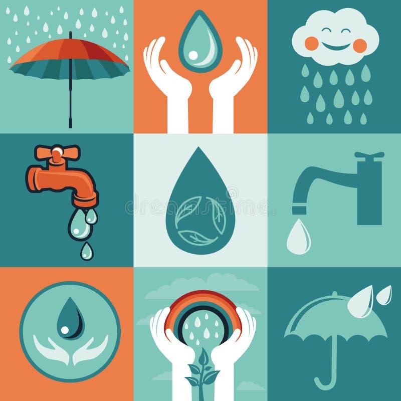Grupo do vetor de bandeiras lisas retros - salvar a água ilustração stock