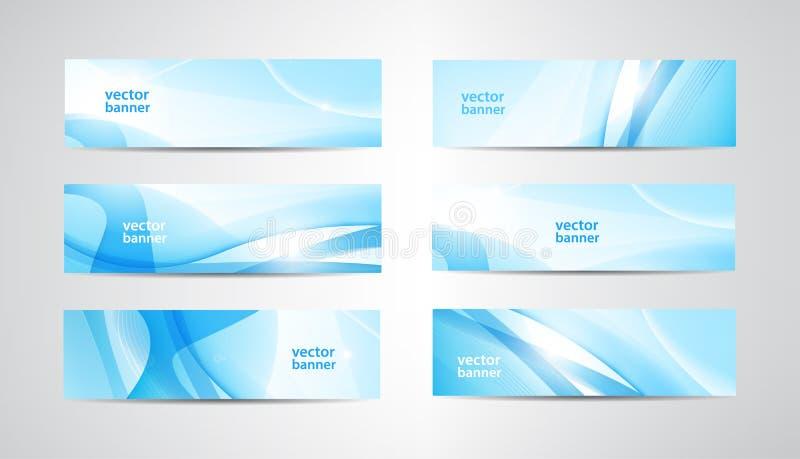 Grupo do vetor de bandeiras onduladas, encabeçamentos azuis da Web da onda Fundo abstrato vibrante da água, orientação horizontal ilustração do vetor