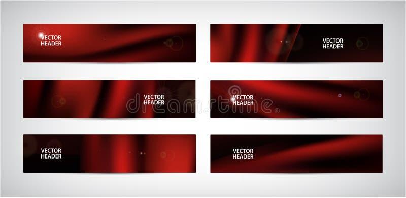 Grupo do vetor de bandeiras onduladas vermelhas do sumário De seda, tela de voo do cetim, cortina no fundo preto ilustração stock