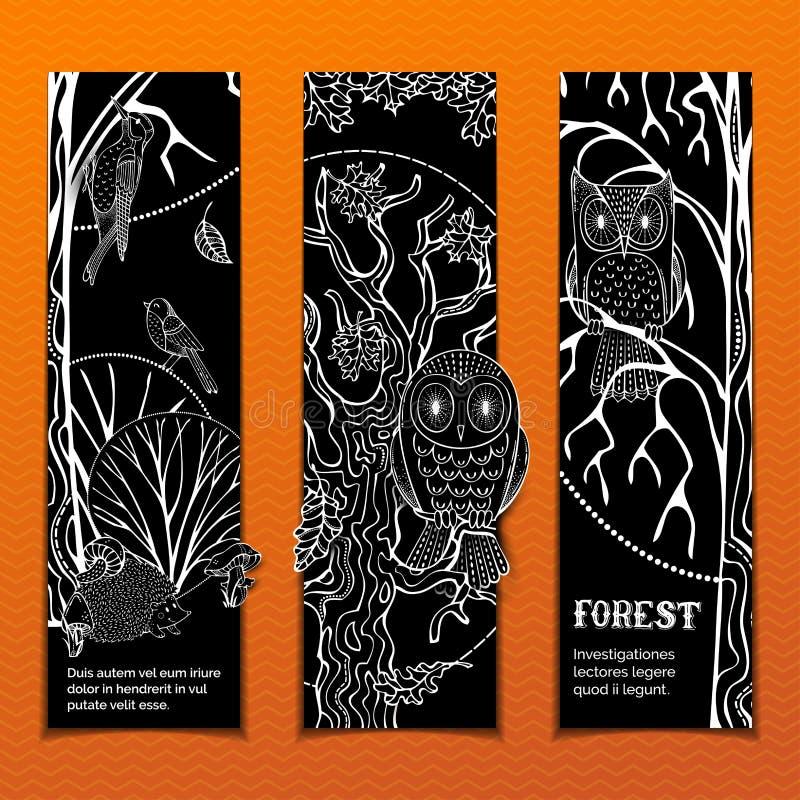 Grupo do vetor de bandeiras do vertical da floresta do giz ilustração do vetor