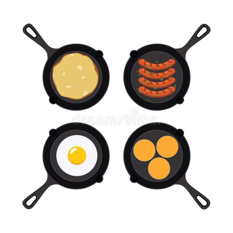 Grupo do vetor de bandejas com alimento de café da manhã ilustração royalty free