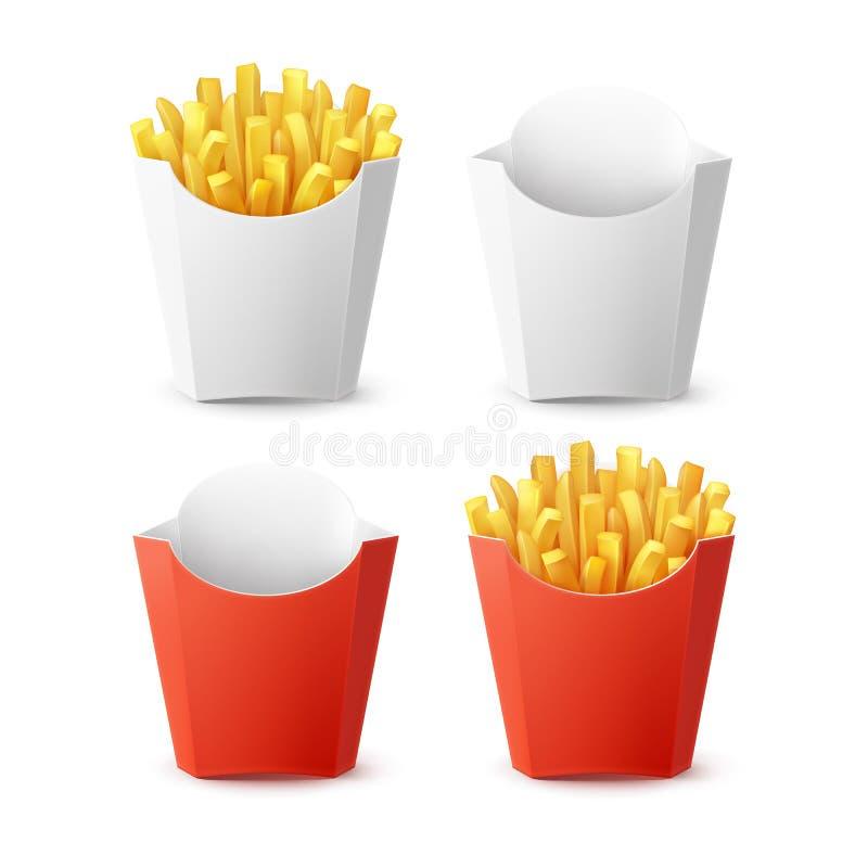Grupo do vetor de batatas fritas embaladas das batatas ilustração stock