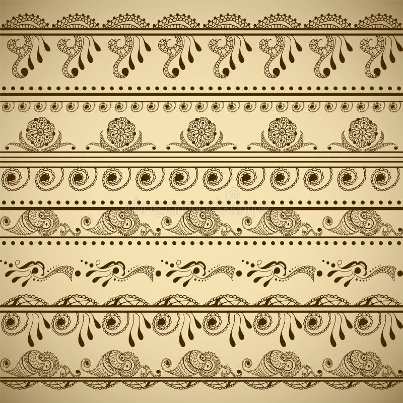 Grupo do vetor de beiras tiradas mão no estilo indiano étnico Coleção de escovas do teste padrão para dentro ilustração stock