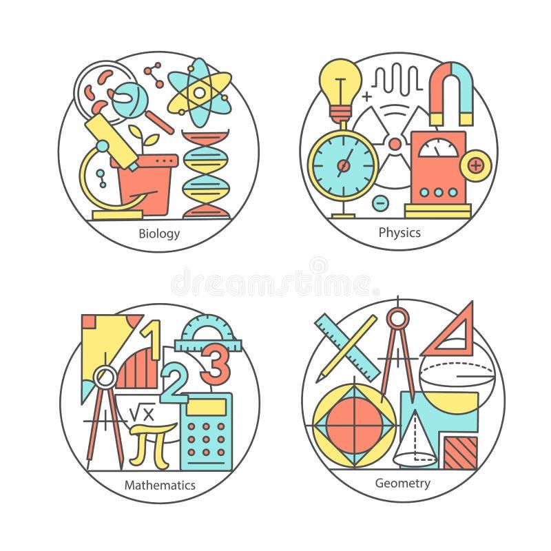 Grupo do vetor de biologia dos logotipos, física, geometria, matemática ilustração royalty free