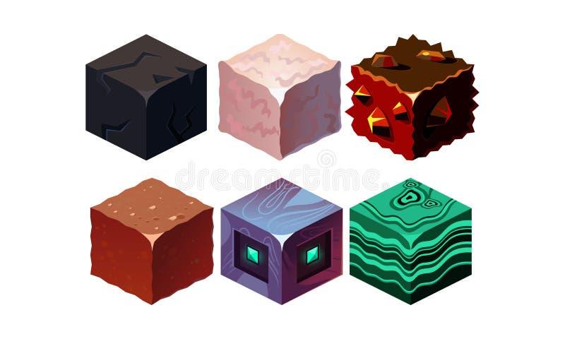 Grupo do vetor de blocos isométricos com textura diferente Cubos no estilo 3D Ativos do jogo Elementos para o móbil da fantasia ilustração do vetor
