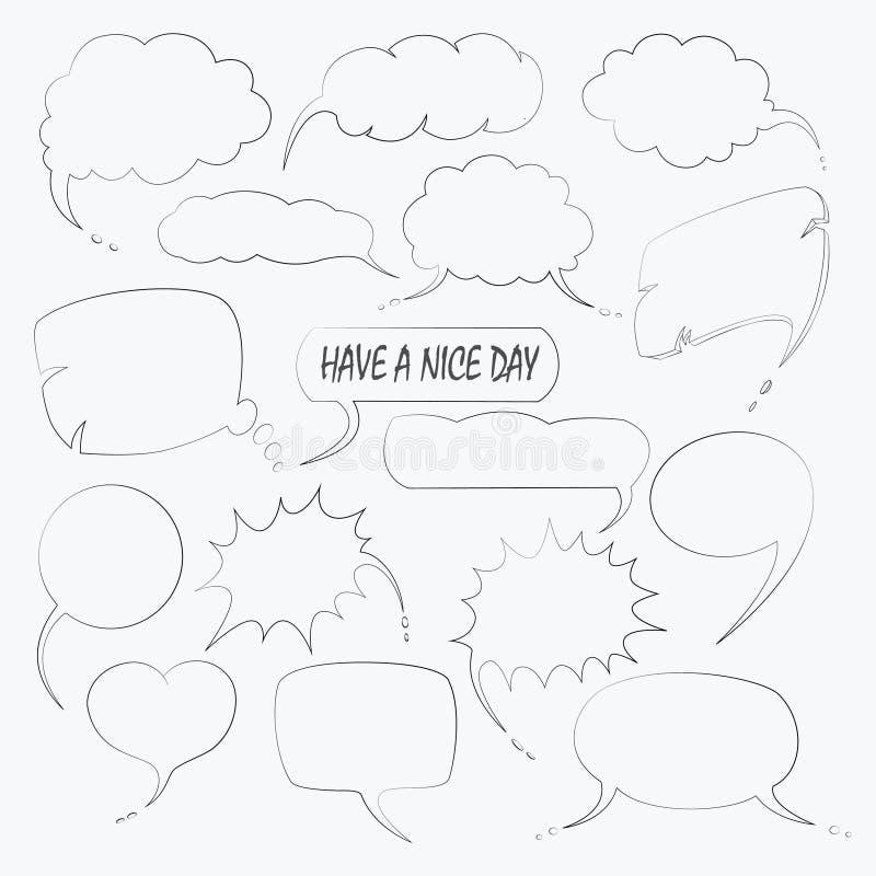 Grupo do vetor de bolha bonito do discurso com texto no estilo da garatuja ilustração do vetor
