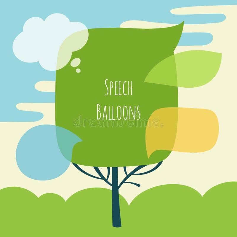 Grupo do vetor de bolha do discurso com árvore ilustração stock