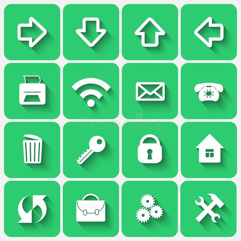 Grupo do vetor de botões de Emerald Green Flat Style Square ilustração do vetor