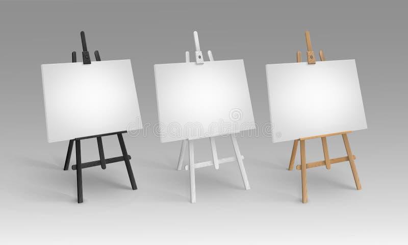 Grupo do vetor de Brown preto branco Sienna Wooden Easels na perspectiva com zombaria acima das lonas vazias vazias isoladas sobr ilustração royalty free