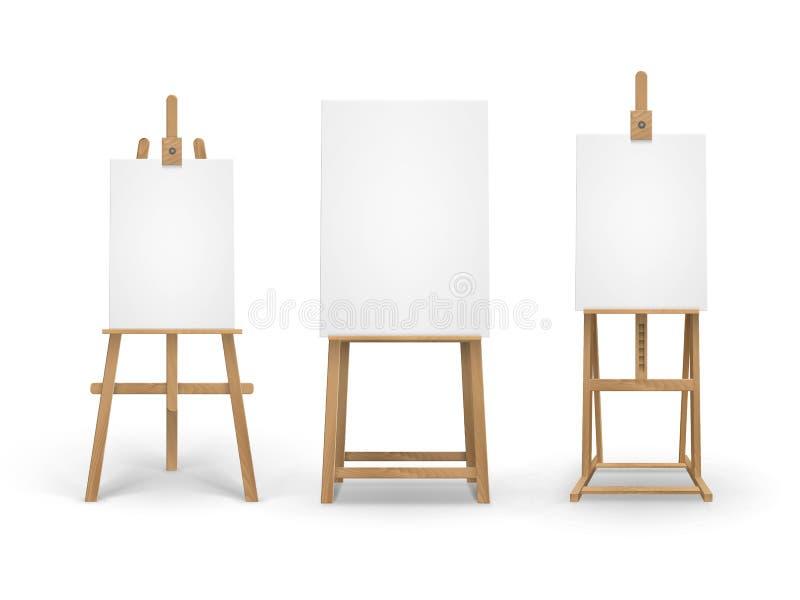Grupo do vetor de Brown Sienna Wooden Easels com zombaria acima das lonas verticais vazias vazias isoladas no fundo ilustração royalty free
