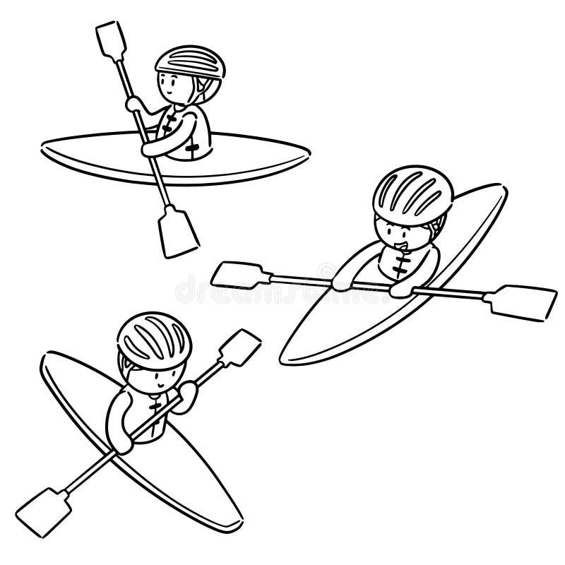 Grupo do vetor de caiaque ilustração do vetor