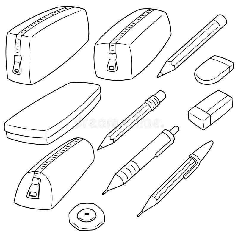 Grupo do vetor de caixa de lápis ilustração royalty free