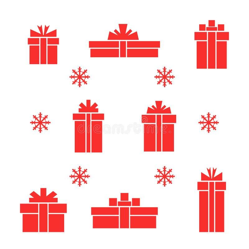 Grupo do vetor de caixas de presente e de floco de neve vermelhos lisos ilustração do vetor