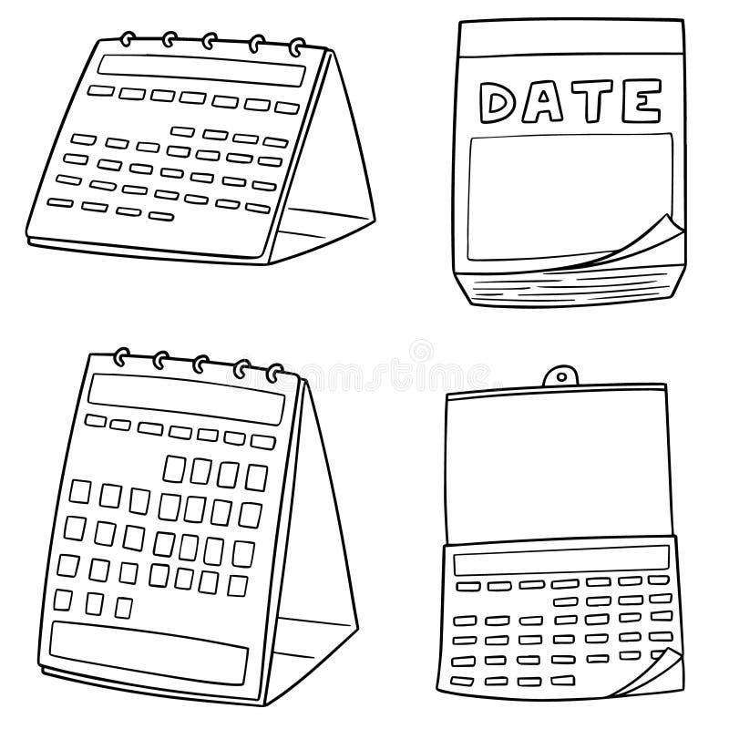 Grupo do vetor de calendário ilustração royalty free