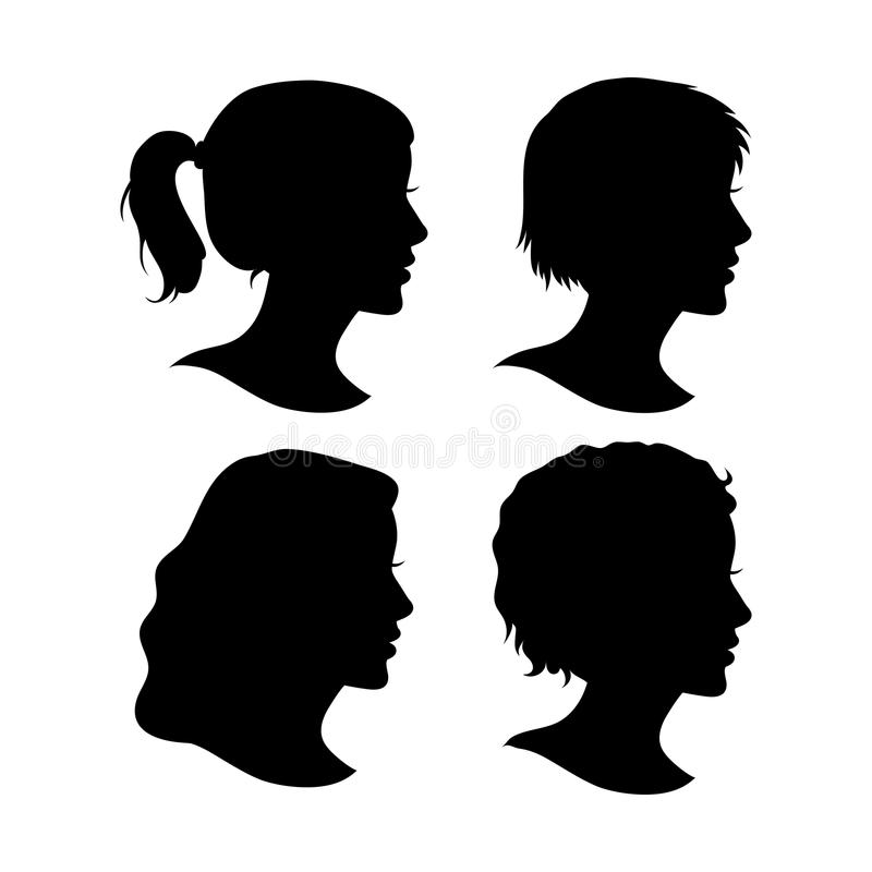 Grupo do vetor de Cameo Silhouettes fêmea ilustração stock