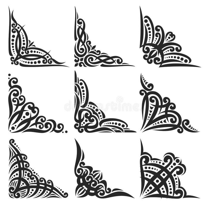 Grupo do vetor de cantos pretos decorativos ilustração do vetor