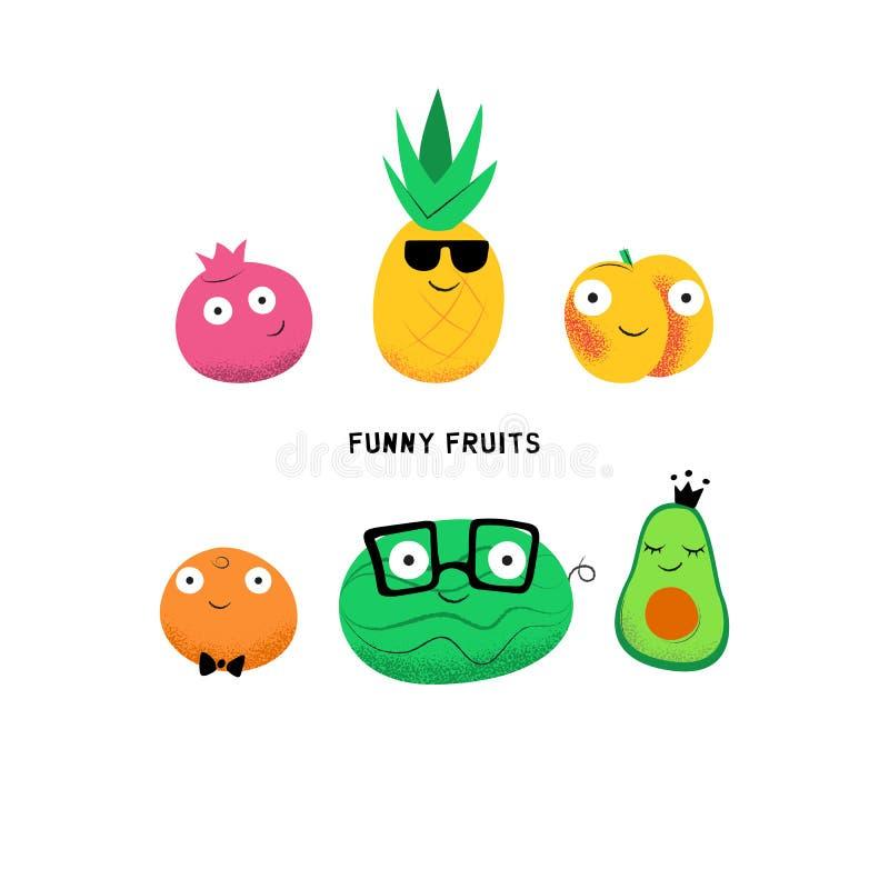 Grupo do vetor de caráteres bonitos dos frutos dos desenhos animados ilustração do vetor