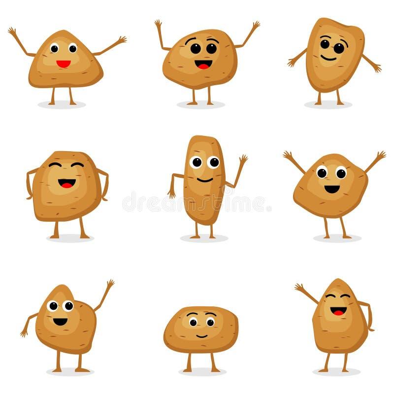 Grupo do vetor de caráteres das batatas Batatas dos desenhos animados isoladas no fundo branco Caráteres vegetais bonitos ilustração stock