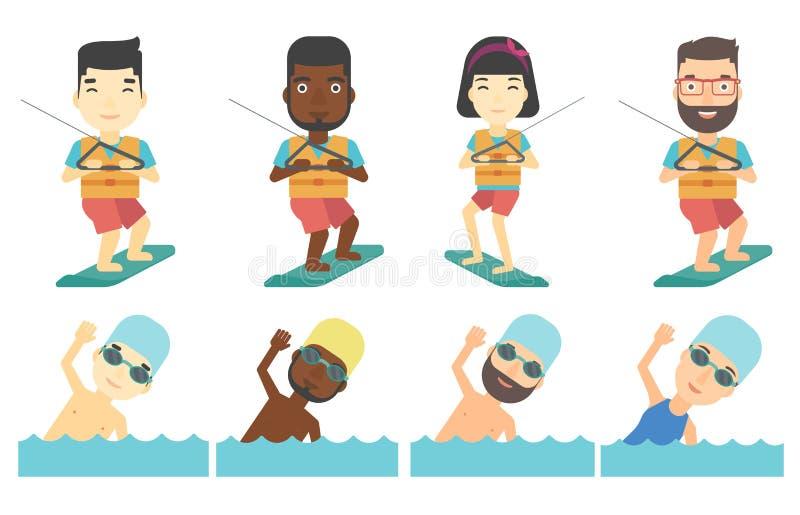 Grupo do vetor de caráteres do esporte de água ilustração royalty free