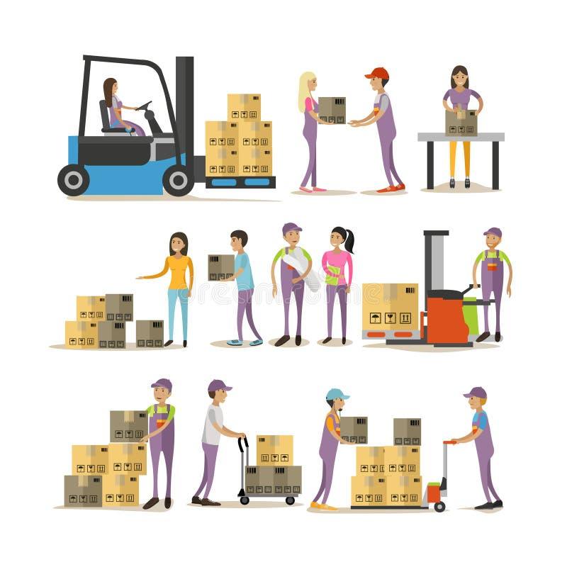 Grupo do vetor de caráteres do homem de entrega no fundo branco Ícones logísticos e do transporte ilustração stock