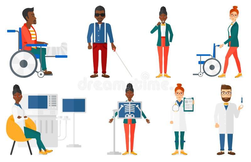 Grupo do vetor de caráteres e de pacientes do doutor ilustração do vetor