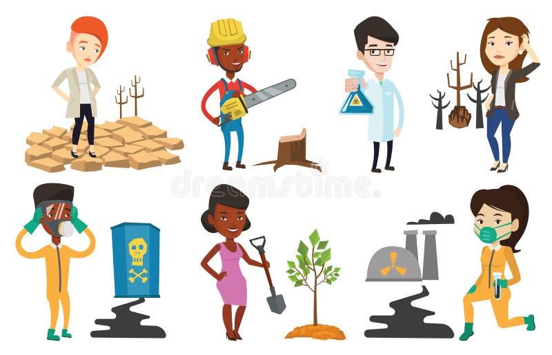 Grupo do vetor de caráteres em edições da ecologia ilustração royalty free