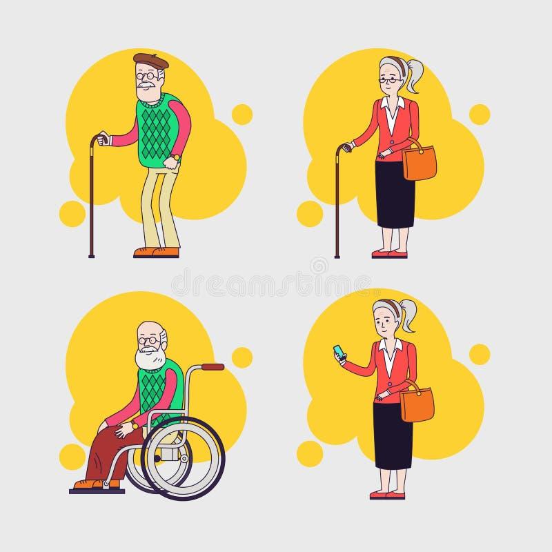 Grupo do vetor de caráteres idosos Grupo dos povos mais idosos grandparents Projeto liso linear ilustração stock