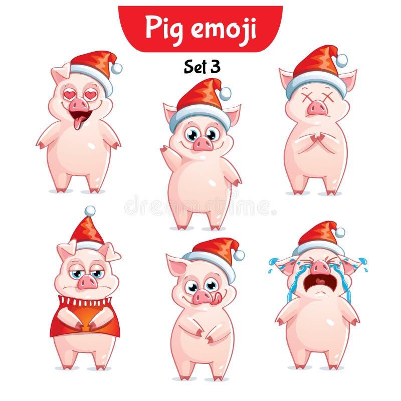 Grupo do vetor de caráteres do porco do Natal Grupo 3 ilustração stock