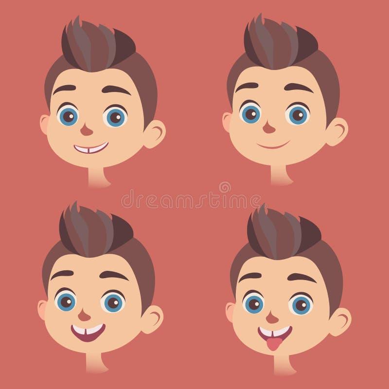 Grupo do vetor de caras dos rapazes pequenos com várias expressões faciais ilustração stock