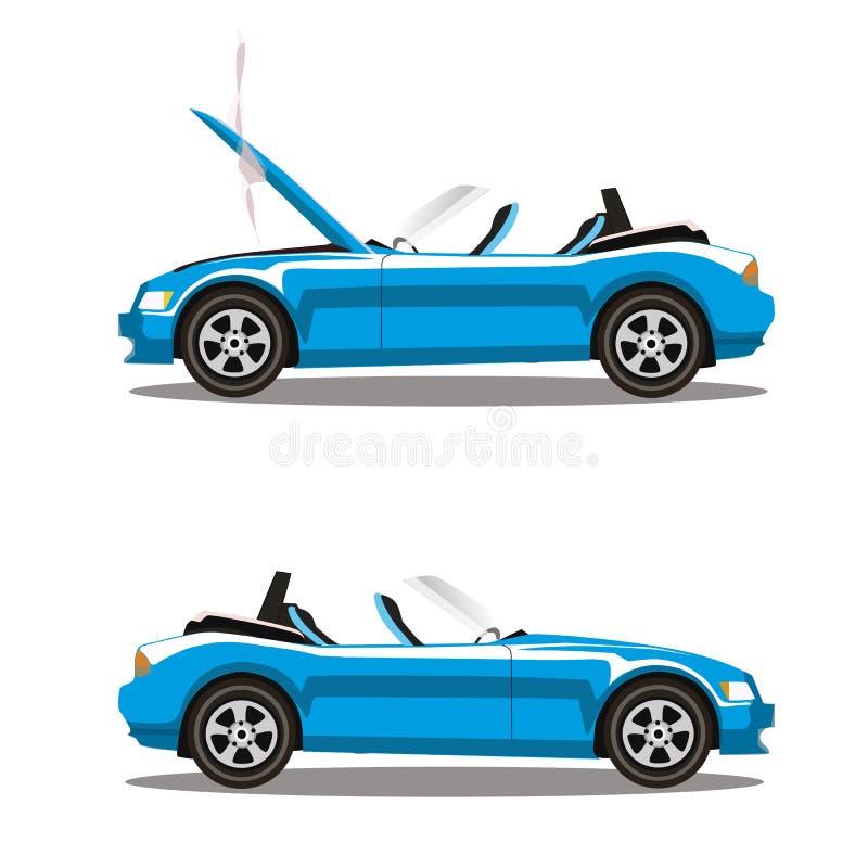 Grupo do vetor de carro desportivo azul ciano do cabriolet dos desenhos animados quebrados antes e depois do impacto isolado no b ilustração royalty free